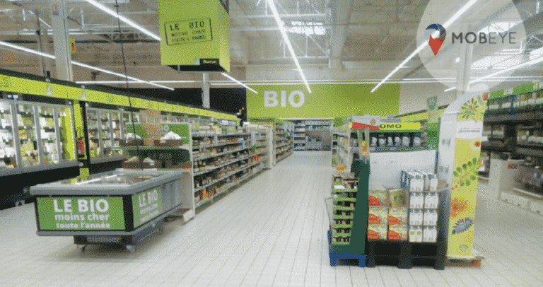 Which categories are present in the organic aisle? Mobeye -